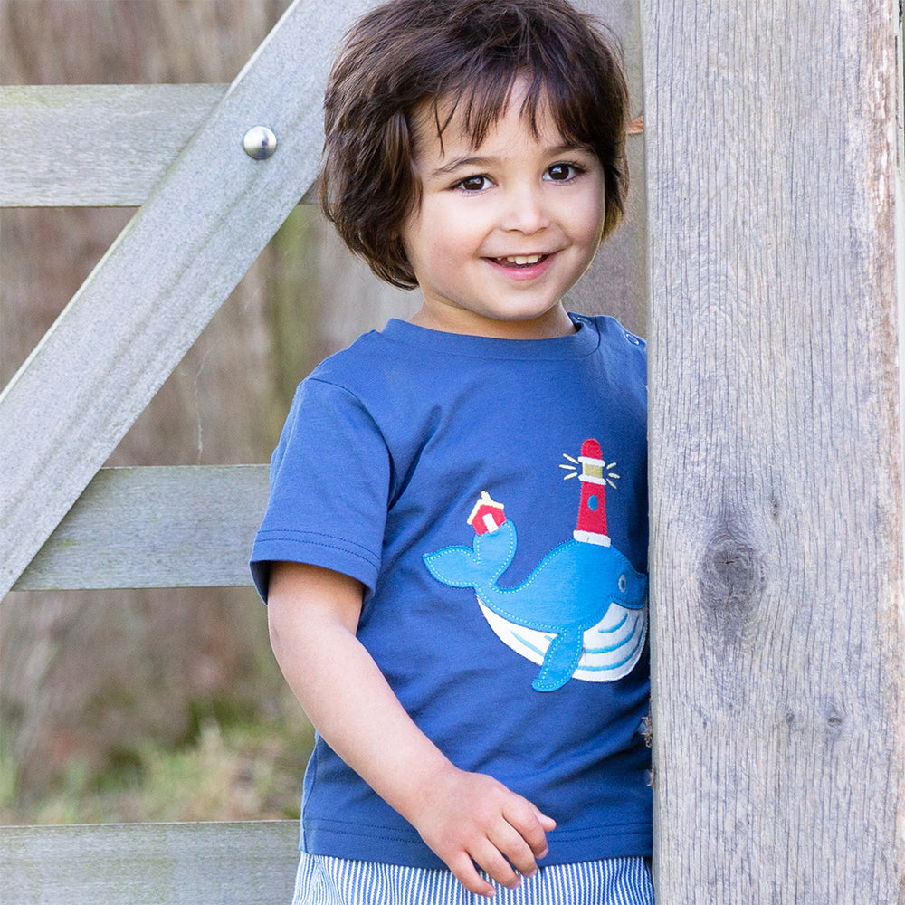 child wearing Organic Cotton Wonder Whale T-Shirt