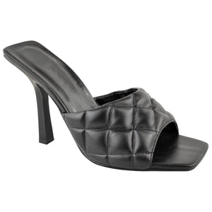 KELSEY BLACK QUILTED HEELED MULES