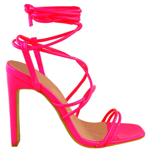 COURTNEY NEON PINK STRAPPY SANDAL HEELS