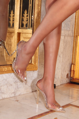AMBER TURNER 'SHOWSTOPPER' GOLD PERSPEX HEELS