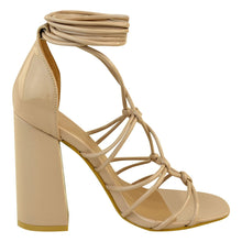 SERENA NUDE PATENT KNOTTED SANDAL BLOCK HEELS