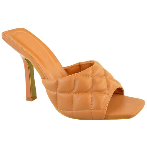 KELSEY CAMEL QUILTED HEELED MULES