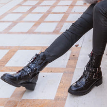 AMBER TURNER 'TOO BIG FOR YOUR BOOTS' BLACK BIKER BOOTS