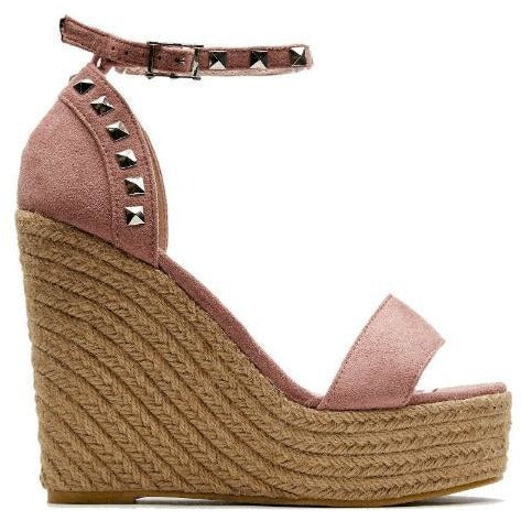 Envy Shoes Connie Studded Blush Pink Espadrille Wedges