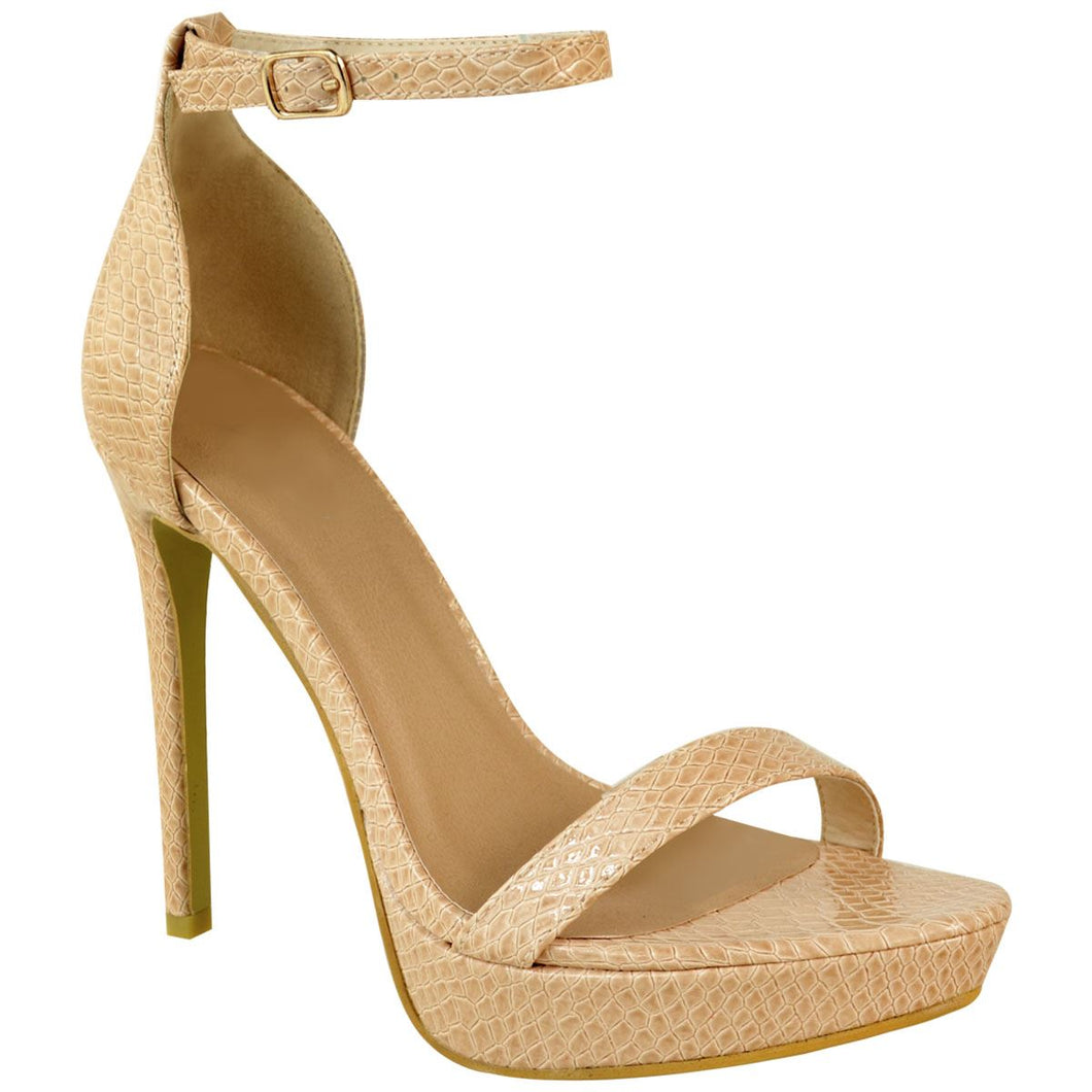 POLLY STRAPPY NUDE PATENT SNAKE PLATFORM HEELS