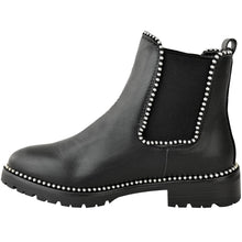 URSULA BLACK AND SILVER STUDDED CHELSEA BOOTS