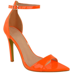 LALA NEON ORANGE POINTED HEELS