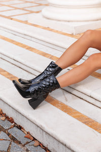 AMBER TURNER 'BOOTIE CALL' BLACK PATENT QUILTED BOOTS