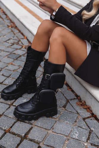 AMBER TURNER 'ZIP TEASE' BLACK CHUNKY POCKET BOOTS