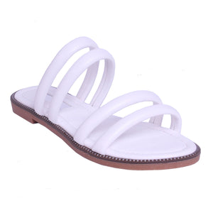 SOPHIE WHITE STRAPPY SLIDERS