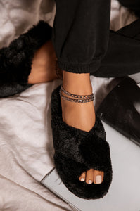 CUDDLE BLACK FAUX FUR SLIPPERS
