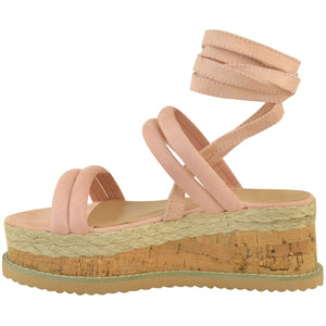 FIFI BLUSH PINK LACE UP FLATFORMS