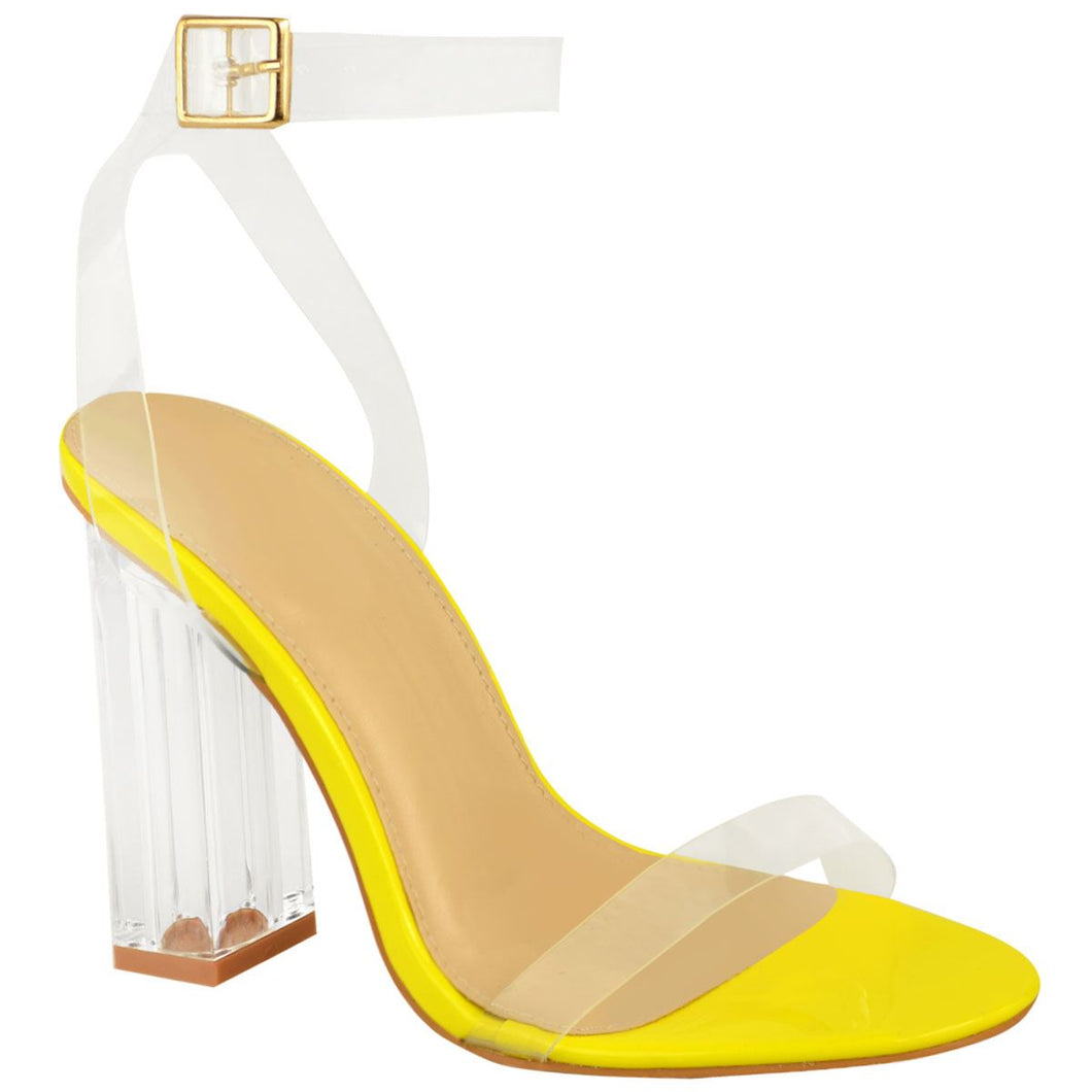MEGAN NEON YELLOW CLEAR PERSPEX HEELS