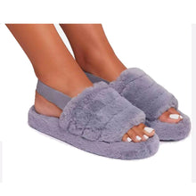 SNUGGLE GREY FAUX FUR SLIPPERS