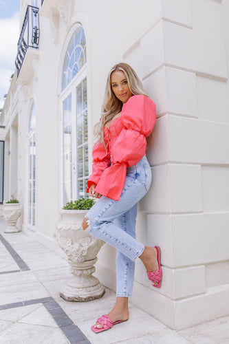 AMBER TURNER 'KNOT SO BASIC' FUCHSIA SLIDERS