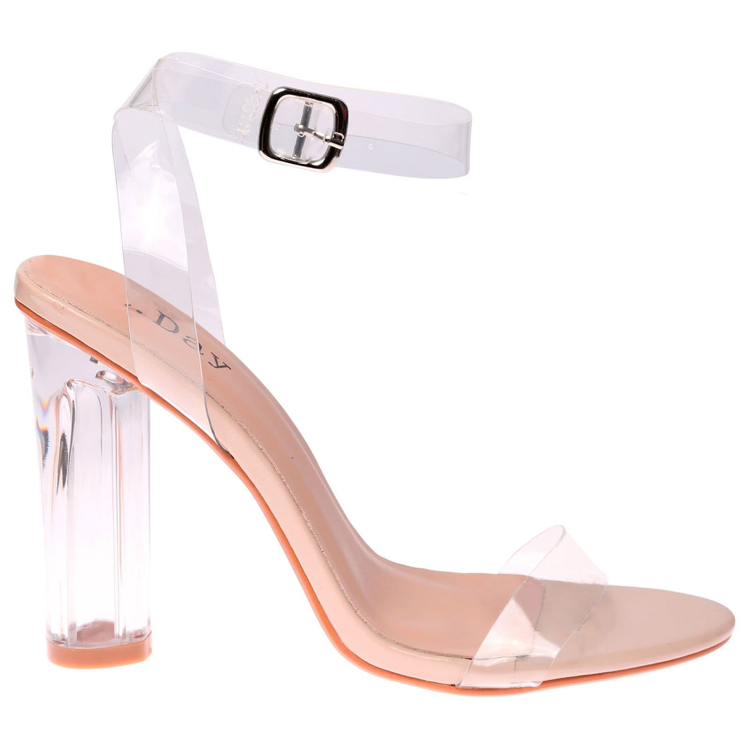 ENVY SHOES DAISEY CLEAR PERSPEX BLOCK HEELS