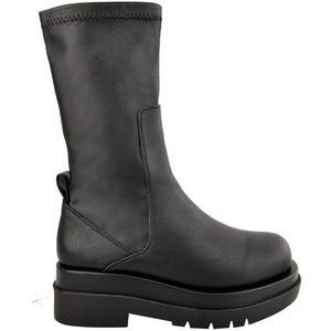 ARIA CHUNKY SOLE BLACK STRETCH PU BOOTS