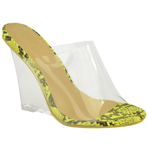 JAYDE NEON LIME GREEN SNAKE CLEAR PERSPEX WEDGE MULES