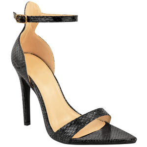 LALA BLACK SNAKE POINTED HEELS