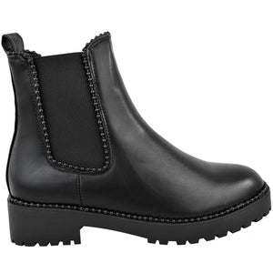 URSULA ALL BLACK STUDDED CHELSEA BOOTS