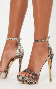 POLLY BROWN SNAKE PRINT HIGH PLATFORM HEELS
