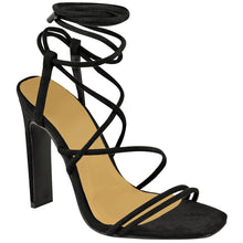 COURTNEY BLACK STRAPPY SANDAL HEELS