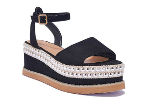 AMBER TURNER 'MIAMI TO IBIZA' BLACK STUDDED FLATFORMS