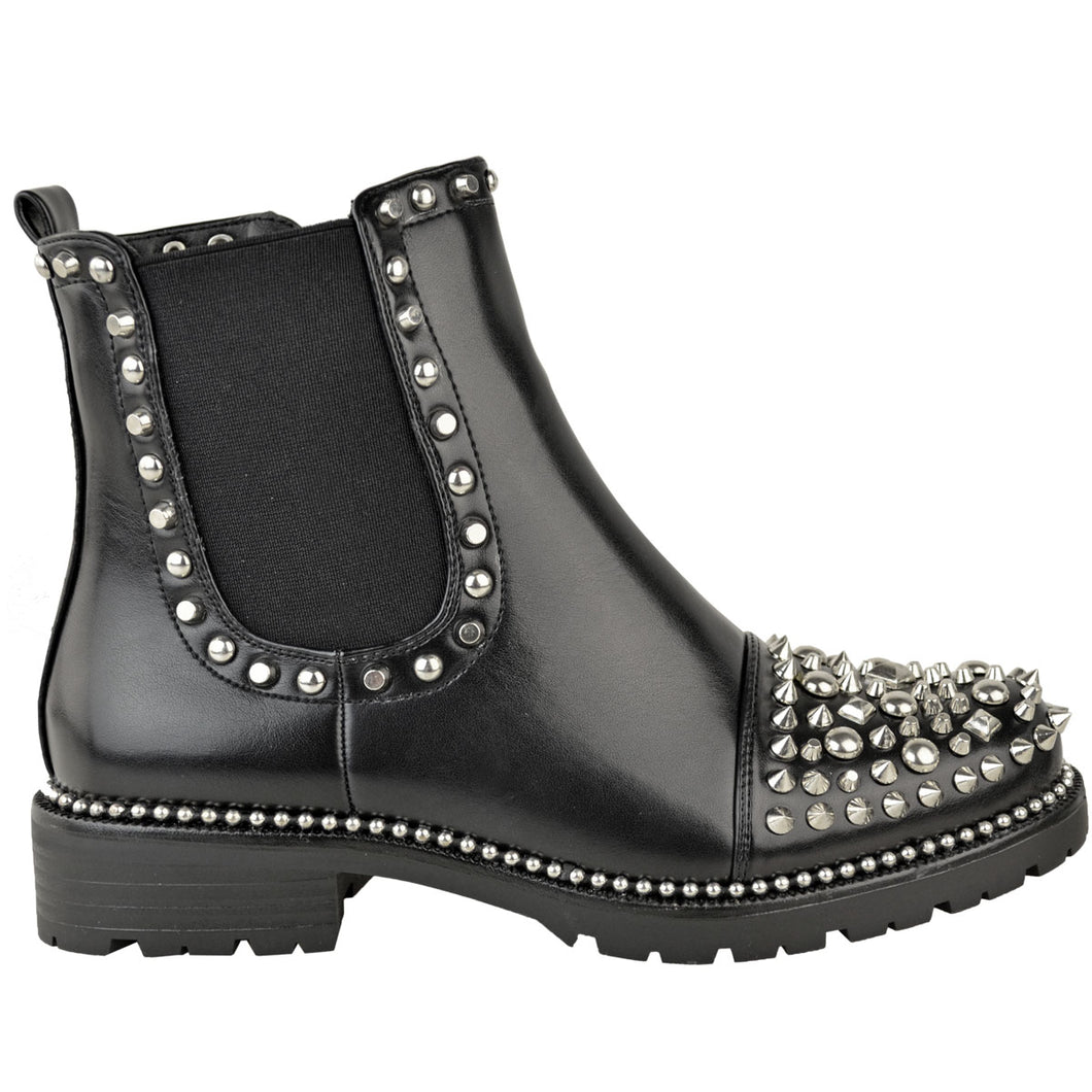 ALEXA STUDDED SILVER & BLACK ANKLE BOOTS