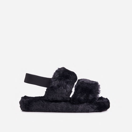 COSY BLACK FAUX FUR SLIPPERS