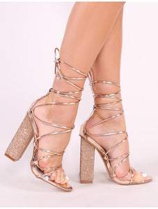 ELSIE ROSE GOLD PERSPEX DIAMANTE HEELS
