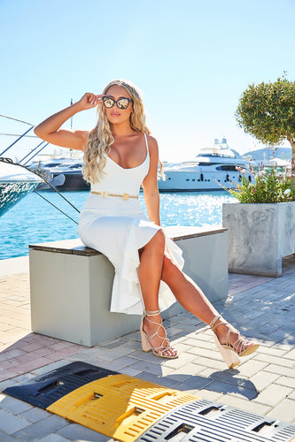 AMBER TURNER 'KNOT MY PROBLEM' NUDE SUEDE KNOTTED SANDAL BLOCK HEELS