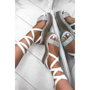 YASMIN WHITE LACE UP ESPADRILLE FLATFORMS