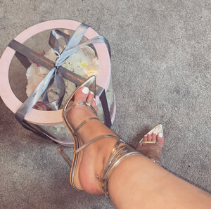 BRIONY GOLD STRAPPY TOE LOOP HEELS