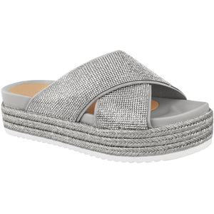 GEORGIA SILVER FLATFORM SLIDERS