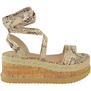 ESME SNAKE LACE UP FLATFORMS
