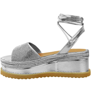 ZOE SILVER LACE UP ESPADRILLE FLATFORMS
