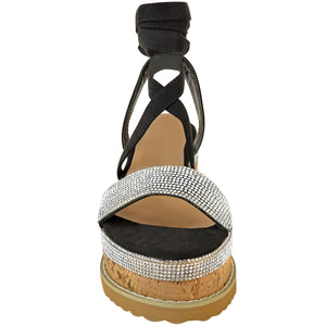 YASMIN BLACK LACE UP ESPADRILLE FLATFORMS