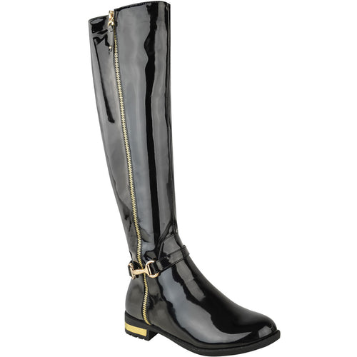 ROSIE PATENT BLACK KNEE HIGH BOOTS