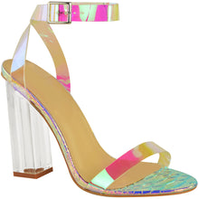 MEGAN RAINBOW CLEAR PERSPEX HEELS