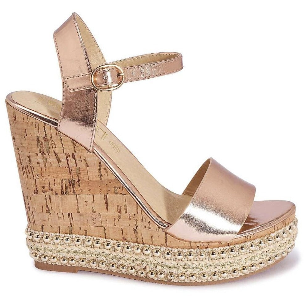 Envy Shoes Daniella Cork Rose Gold Wedges