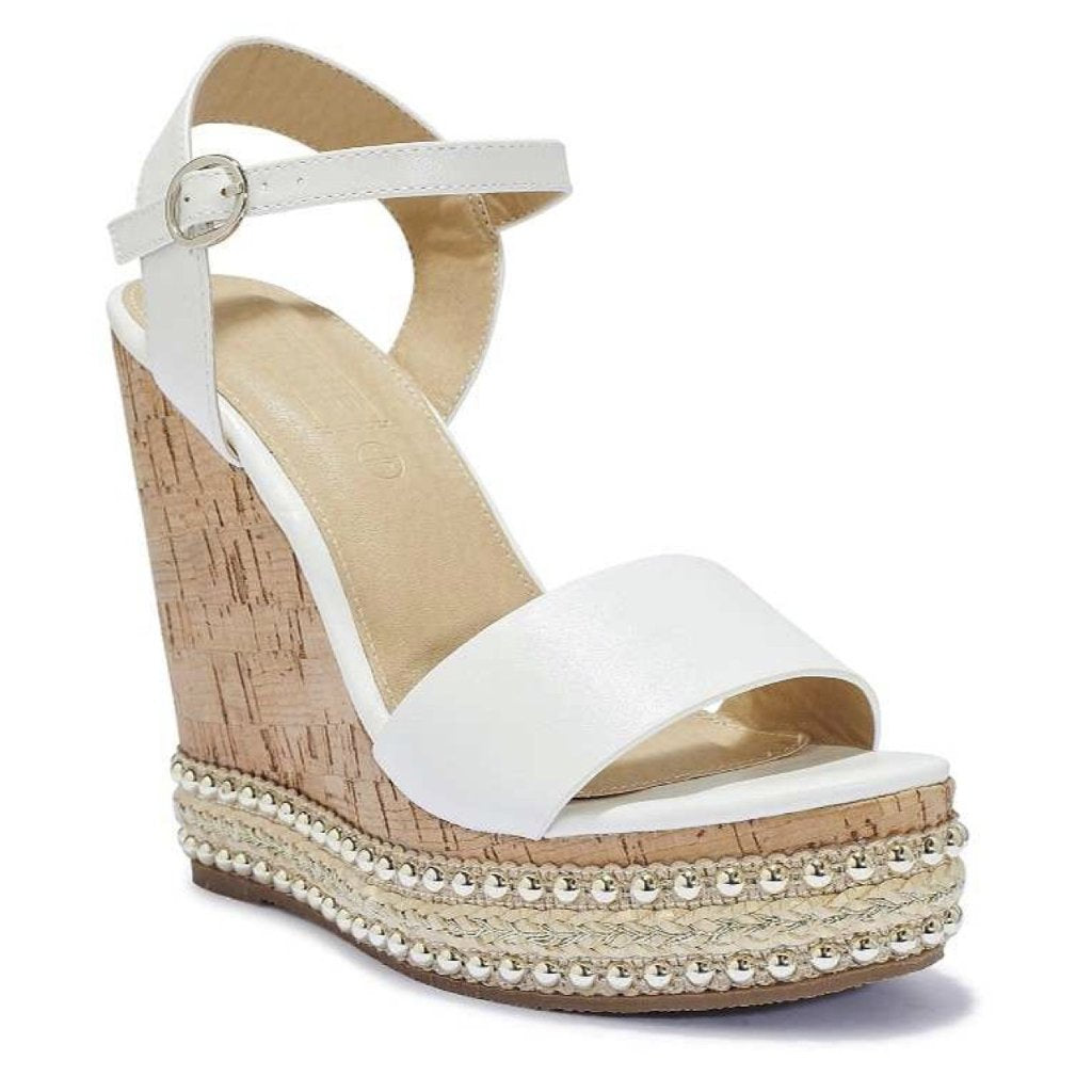 DANIELLA WHITE CORK STUD WEDGES
