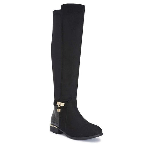MONTANA CROC BLACK KNEE HIGH BOOTS
