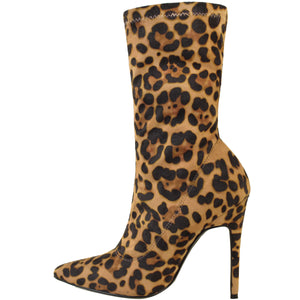 ENVY SHOES HATTIE LEOPARD SOCK BOOTS