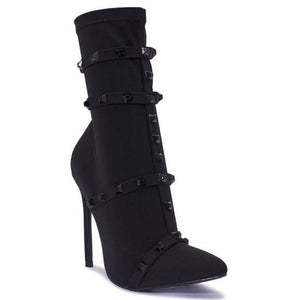 VALENTINA BLACK STUDDED SOCK BOOTS