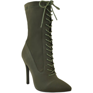 KIMMY KHAKI LYCRA SOCK BOOT