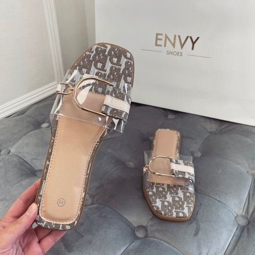 DELANI NUDE PERSPEX BUCKLE SLIDERS