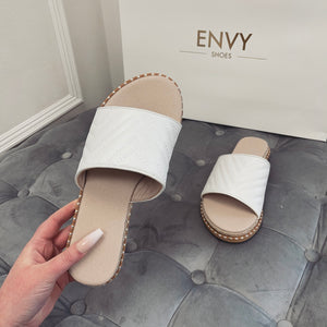 HOPE WHITE QUILTED ESPADRILLE SLIDERS
