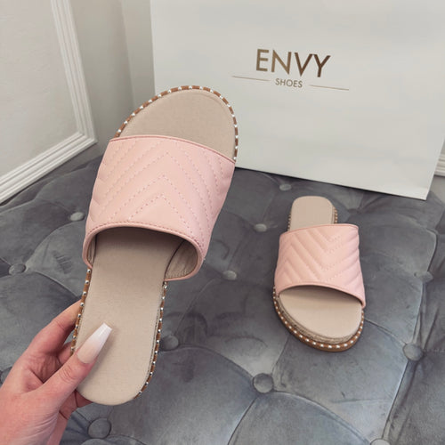 HOPE PINK QUILTED ESPADRILLE SLIDERS