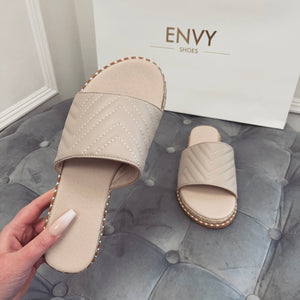 HOPE NUDE QUILTED ESPADRILLE SLIDERS