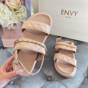 COCO NUDE QUILTED DOUBLE STRAP SANDALS
